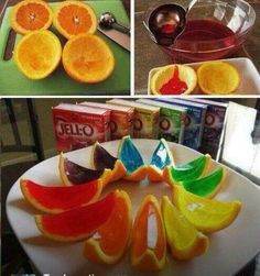 Summer snack here I come. You can also use cuties and put Jell-O shots in them!
