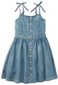 Ralph Lauren Childrenswear - Little Girl's Denim Dress Girls Denim Dress, Dresses Kids Girl, Toddler Denim Dress, Denim Outfit, Dress Outfits, Kids Outfits, Casual Dresses, Denim Dresses Online, Kids Clothes Sale