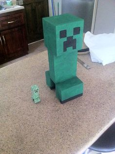 Diy minecraft heads 69 cent boxes from walmart a ruler for Bed decoration minecraft