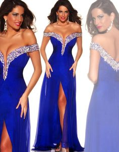 Royal Blue Backless Crystal Evening Dresses 2015 Off Shoulder Beads Neckline Front Slit Long Prom Dresses Women Formal Evening Gowns Orient Online with $113.09/Piece on Orient1983's Store | DHgate.com