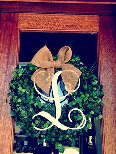 Monogram Initial Boxwood Wreath with Burlap Bow ~ Fall Decor ~ Wedding Wreath Diy Craft Projects, Diy And Crafts, Arts And Crafts, Craft Ideas, Boxwood Wreath, Door Wreaths, Burlap Bows, Burlap Wreath, Crafty Craft