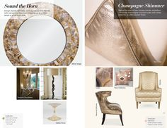 Trends: Sound the Horn and Champagne Shimmer Caviar, Color Trends, Horn, Champagne, Interior Design, Spring, Summer, Life, Furniture