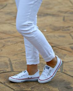 Keeping it casual with white denim and Converse
