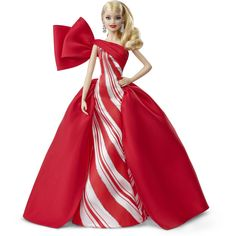 For decades, the Holiday Barbie doll has embodied the spirit of a season marked by wonder and celebration. 2019 Holiday Barbie doll shines in an elegant gown with red and white holiday print and silvery sparkle detail. A beautiful bow adorns the gown's sh Barbie Style, Barbie Shop, Mattel Barbie, Barbie Gowns, Barbie Hair, Doll Hair, Blonde Curls, White Gowns, White Satin