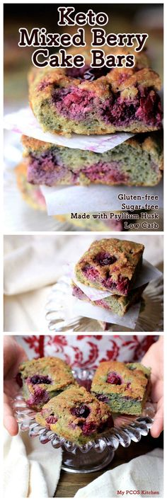 My PCOS Kitchen - Keto Mixed Berry Cake Bars - These healthy and delicious raspberry and blackberry breakfast cake bars are gluten-free, sugar-free, can be dairy-free and are low carb!! via @mypcoskitchen
