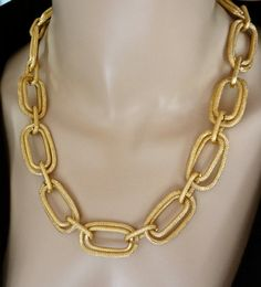 Large link gold statement necklace  Double by QueenMeJewelryLLC, $32.99