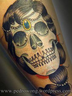 #pedrowong #perewong #tattoos #girona #addictiontattoostudio #dead #princess #queen #skull