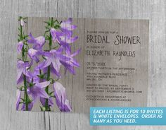 Rustic Campanula Bridal Shower Invitations