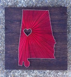 Items similar to State String Art on x Stained Wood - Customizable String Art on Etsy How To Make Diy, Pallet Signs, String Art, Handicraft, Wood Crafts, Arts And Crafts, Crafty, Unique Jewelry, Handmade Gifts