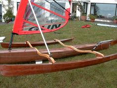 A very creative standing board trimaran using a modified design from Chesapeake Light Craft Row Row Your Boat, Row Row Row, Kayak Outriggers, Sailing Kayak, Chesapeake Light Craft, Alexandria Bay, Wooden Kayak, Outrigger Canoe, Classic Wooden Boats