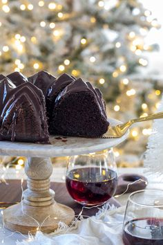 This rich and decadent pinot noir chocolate cake topped with a pinot noir chocolate ganache is any wine lovers dream dessert!