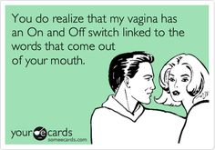 Funny Somewhat Topical Ecard: You do realize that my vagina has an On and Off switch linked to the words that come out of your mouth.