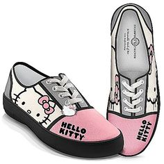 Hello Kitty® color block sneakers with Hello Kitty portrait and name on canvas uppers, rubber soles. Enameled Hello Kitty charm hangs from laces Hello Kitty Outfit, Hello Kitty Clothes, Hello Kitty Shoes, Hello Kitty Items, Hello Kitty Stuff, Hello Kitty Handbags, Sanrio Hello Kitty, Sock Shoes, Shoe Boots