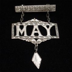 MAY Name Pin Vintage Dangling Birth Month Brooch different May Name, Name Jewelry, Birth Month, Retro Costume, Brooch Pin, Diamond Earrings, Names, Collections, Antiques