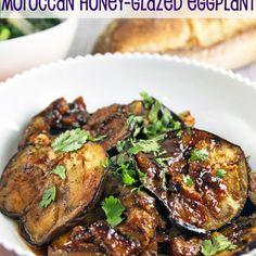 Moroccan Honey Glazed Eggplant Recipe with eggplant, salt, olive oil, honey, lemon, garlic, ginger, cumin, harissa, chopped fresh cilantro