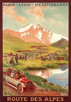 Vintage French Travel Poster: Route des Alpes by Rene Pean (1910)