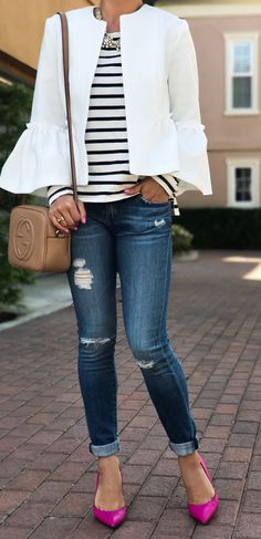 #summer #outfits White Jacket + Striped Top + Ripped Skinny Jeans + Pink Pumps