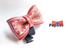 INDIA cow leather BOW TIE  hand painted by Popties on Etsy