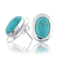 Bling Jewelry 925 Sterling Silver Turquoise Oval Stud Earrings Sterling Silver Earrings Studs, Turquoise Earrings, Stud Earrings, Bling Jewelry, Gemstone Jewelry, Crystals And Gemstones, Earthy, Fashion Jewelry, Unisex