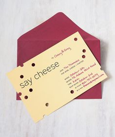 Having a party just got this much easier (and cheaper) . with 9 fill-in-the-blank printable invitations from Real Simple. Anyone else dying to have a wine/cheese party just to break out their holepunch? Cheese Party Trays, Wine And Cheese Party, Wine Tasting Party, Party Platters, Wine Cheese, Cheese Plates, Wein Parties, Neighborhood Party, Vegan Wine