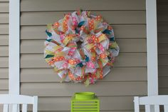 DIY Spring Recycled Ribbon Mesh Wreath