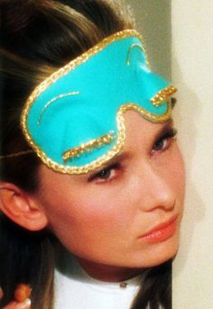 """Blue Sleep Mask worn by Audrey Hepburn as Holly Golightly in """"Breakfast at Tiffany's"""". George Peppard, Divas, Breakfast At Tiffany's Costume, Audrey Hepburn Breakfast At Tiffanys, Holly Golightly, I Believe In Pink, Happy Girls, Tiffany Blue, Old Hollywood"""