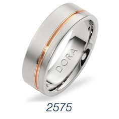 Rose Gold Accented Wedding Band by Dora Rings. This rose gold inlay gives this rings just enough!