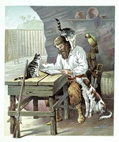 Robinson Crusoe. Published in 1719! Just started reading this.....does he really have 2 cats and a dog? Yes he does, but he rarely talks about them.  Very unexciting!