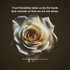"""True friendship takes us by the hand, and reminds us that we are not alone."" Created and posted by onlinecounsellingcollege. Rap Singers, Counseling Quotes, Candle Store, Handmade Candles, Tarot Reading, True Friends, Ukulele, Friendship Quotes, Are You Happy"