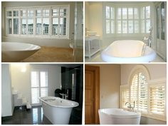 Bathroom shutters are hard wearing, low maintenance solution for bathrooms, shower rooms and wet rooms. House Bathroom, House Design, New Homes, House Styles, Home Decor Inspiration, Ideal Home, Dream Bathrooms, Bathroom Design, Beautiful Bathrooms