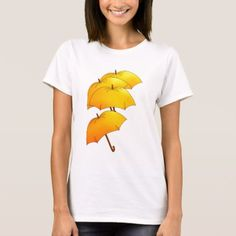 Floating yellow umbrellas T-Shirt - tap, personalize, buy right now! Yellow Umbrella, Umbrellas, Wardrobe Staples, Fitness Models, Rain, T Shirts For Women, Female, Casual, Fabric