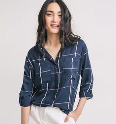Koszula damska niebieska kratka - Promod