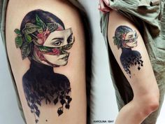 Amazing Lady With Flower Face Tattoo... - Tattoo Designs