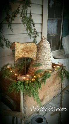 Front porch decor, I like the bee skep