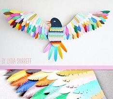 Craft-art-paper-bird-lydia-etsy-colourful-wall-mounted