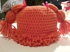 Crochet Cabbage Patch Doll Inspired Beanie Hat Custom Sizes Colors Options
