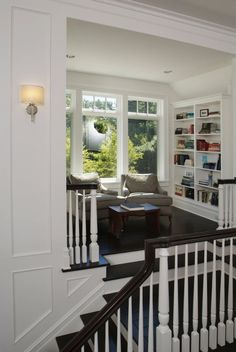 reading nook of the landing of stairs by shauna