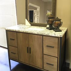 "This 48"" Bozeman cabinet is showing off with its #custom counter top and sink! This rustic wood vanity comes topless, allowing you to pick your top and sink!! ... #bathroomdecor #bathroom #vanity #bathroom #remodel #bathroomdesign #customized #sink #furniture #LookForLandK #LandKdesigns"