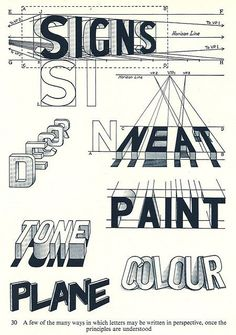 "Georgia Harris - Type Based Design.  This is an illustration done for ""The Art of Signwriting"" published in 1954. It is pretty interesting to see how typefaces and signage were approached years ago."