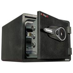 FireKing One Hour Fire and Water Safe w/Biometric Fingerprint Lock, 0.85 cu. ft, Graphite, Black