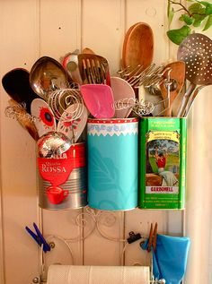 Old Tins as Utensil holders or pens/pencil scissors @Traci Rhodes-Rushing
