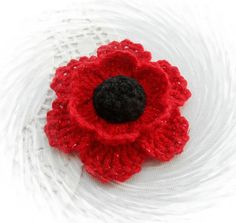 HAND  CROCHET BROOCH APPLIQUE RED *GLITTER* FLOWER POPPY in Crafts, Needlecrafts & Yarn, Crocheting & Knitting | eBay!