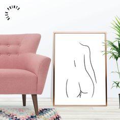 Nude Line Art Print - Hand Drawn, Female Nudity, Wall Decor, Modern Minimalist Art, Female Back Poster, Scandinavian Walls by BlekPrints on Etsy