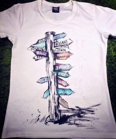 Hand painted tourist Tshirts. Tshirt by palettePandora on Etsy