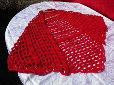 Darling Red Spring Shawl which is about 56 inches wide and 29 inches on the back tail. Made with acrylic yarn..www.KaysKoolKrochet.Etsy.com