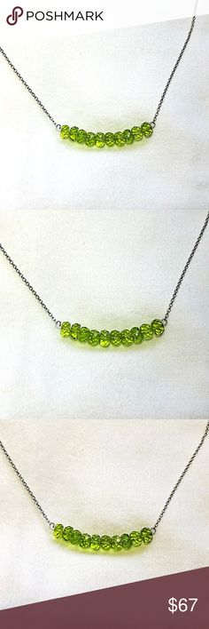 Genuine Peridot Gemstone Necklace! Genuine Peridot Gemstone Necklace. The chain is Rhodium plated over Silver. Peridot is one of only two gems (Diamond is the other) formed not in the Earth's crust, but in molten rock of the upper mantle and brought to the surface by the forces of earthquakes and volcanoes. It is said that Peridot manifest abundance in all areas of one's life: wealth, happiness, health and love.v (Bundle 3 listings & Save with my Discount!) Jewelry Necklaces