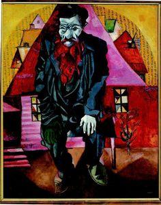 Marc Chagall - L'ebreo in rosso 1915, olio su cartone. San Pietroburgo, Museo di Stato Russo © Chagall