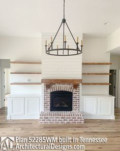 Good Free of Charge Brick Fireplace christmas Strategies Plan Budget Friendly 4 Bed Country Farmhouse Plan Brick Fireplace Makeover, Fireplace Built Ins, Farmhouse Fireplace, Home Fireplace, Fireplace Remodel, Living Room With Fireplace, Fireplace Design, Home Living Room, Living Room Decor