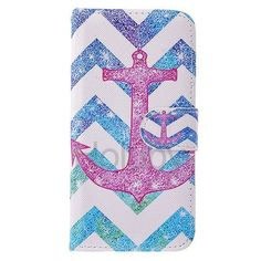 Cross Pattern Magnetic Flip Stand TPU+ PU Leather Case for Samsung Galaxy S6 G9200 - Wave& Anchor