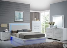King Bedroom Sets, Queen Bedroom, Contemporary Bedroom, Modern Bedroom, Platform Bedroom, Queen Size Headboard, Silver Bedroom, Hillsdale Furniture, White Laminate